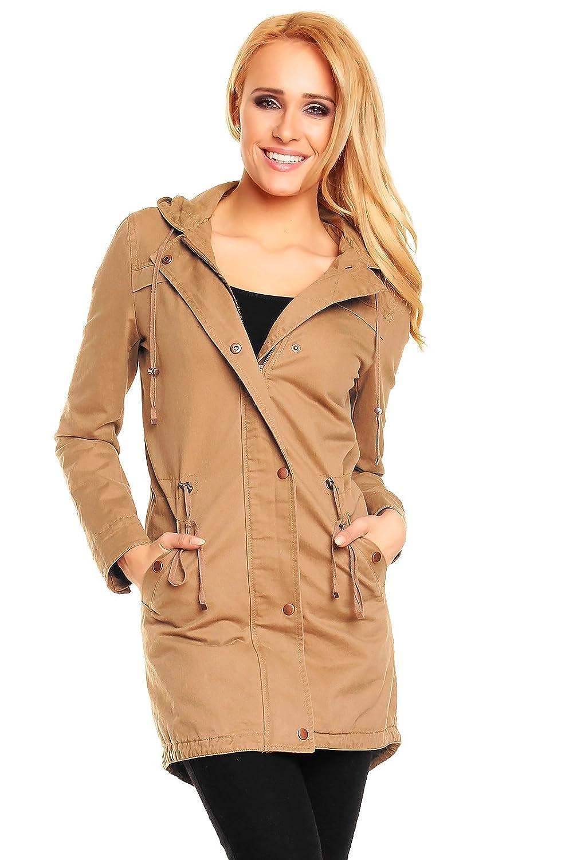 Damen Parka Jacke Blogger Mantel Coat Kapuze Quilted Long S M L XL 307
