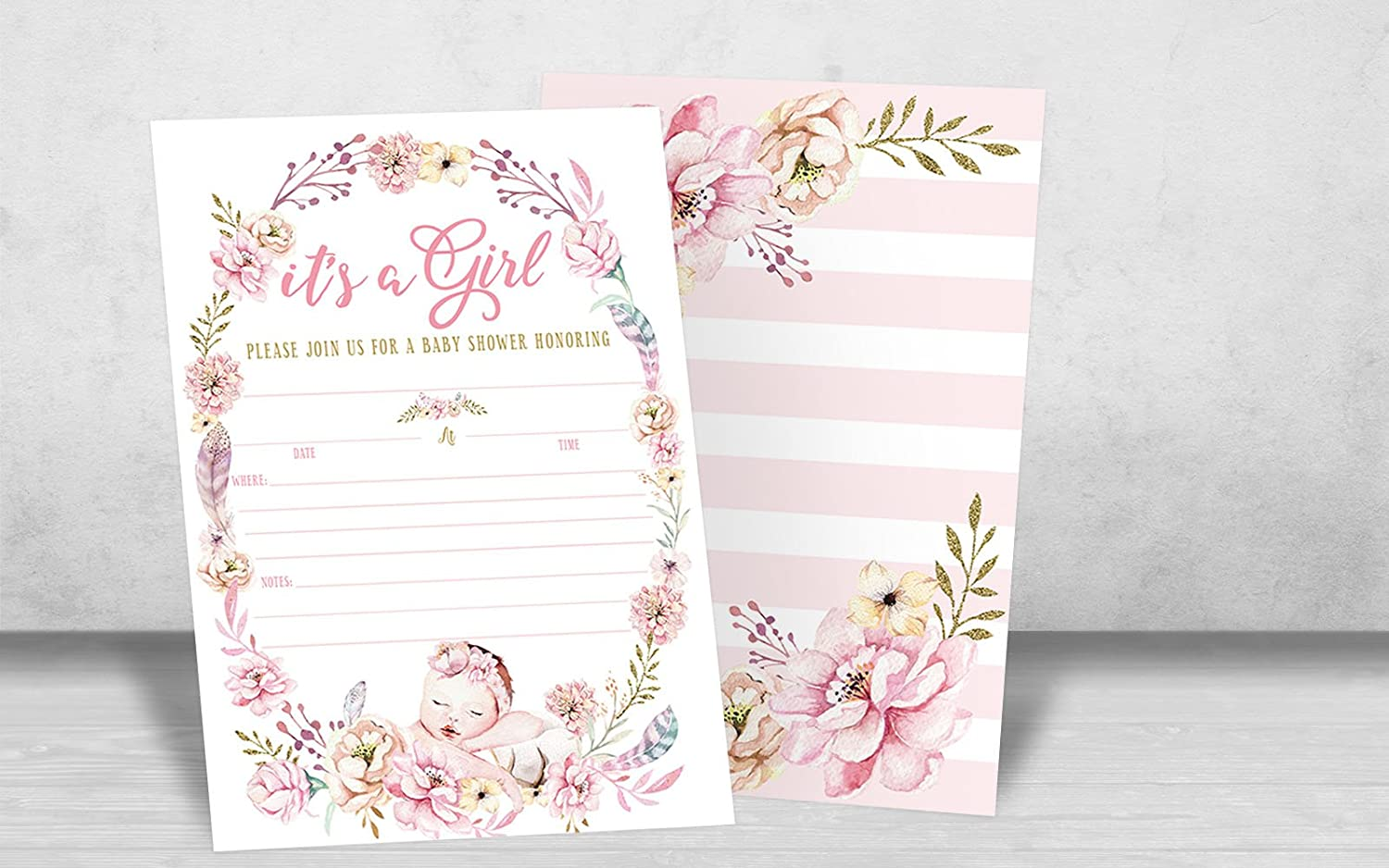 20 Fill in Invitations and Envelopes Girl Baby Shower Invitations Girl Baby Shower Invites Its a Girl Baby Shower Invitations Floral Boho Butterfly Whimsical