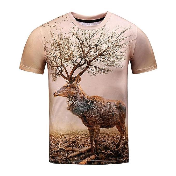 Oyedens Camiseta, NiñOs Divertidos Hombres 3d Imprimir Verano Manga Corta Ciervos Camisetas Top Blusa Camiseta: Amazon.es: Ropa y accesorios