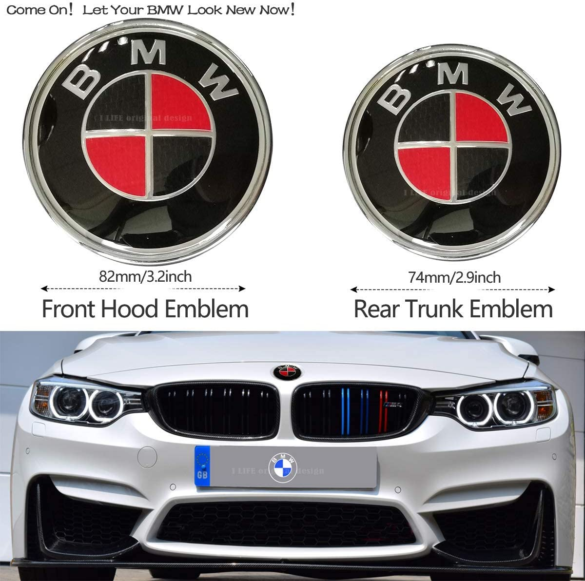 82mm 74mm Black BMW Logo Replacement for ALL Models BMW E46 E30 E36 E34 E38 E39 E60 E65 E90 325i 328i X3 X5 X6 1 3 5 6 7 BMW Emblems Hood and Trunk