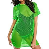BNisBM Sexy Dress for Women Shiny See Through Mesh Cover Up Swimsuit Beach Dress Sheer Bodycon Mini Party Dress Clubwear