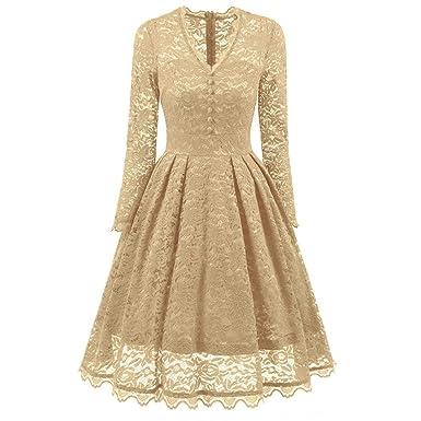 Kanpola Kleid Damen Langarm Spitze Kleider Vintage V-Ausschnitt ...