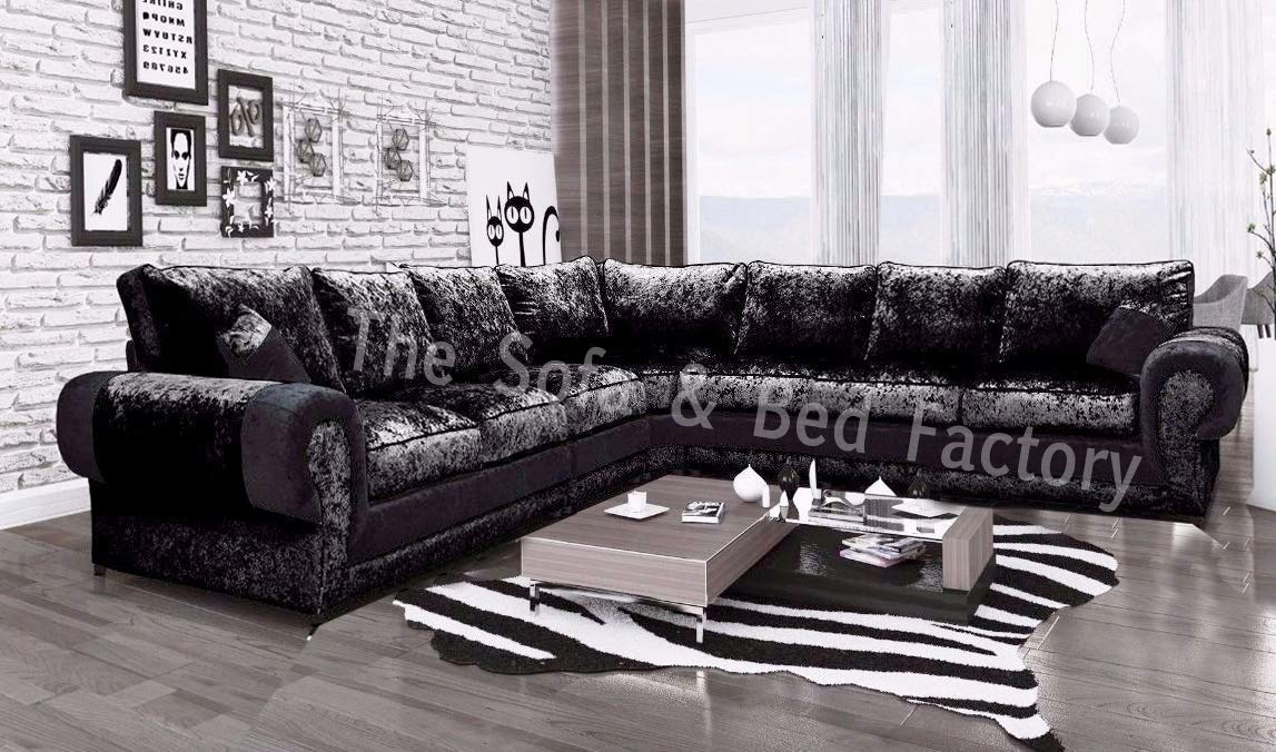 the best attitude d5186 d3f5b Details about Cheap Luxury Lara Crushed Velvet Extra Large 7 Seater Corner  Sofa Black L Shape