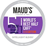 Maud's Half Caff Coffee (World's Best Half Caff), 100ct. Solar Energy Produced Recyclable Single Serve Medium Roast Half Caff