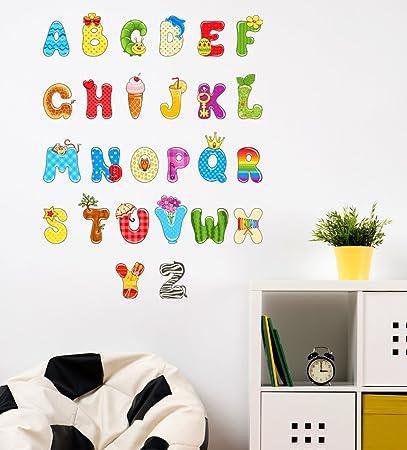 Orange And Orchid Alphabets A To Z Wall Sticker (Pvc Vinyl,90 Cm X 70 Cm)