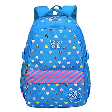 Hearts Printed Small Girls School Backpack for Kids Children Schoolbag bags(Small, Blue)