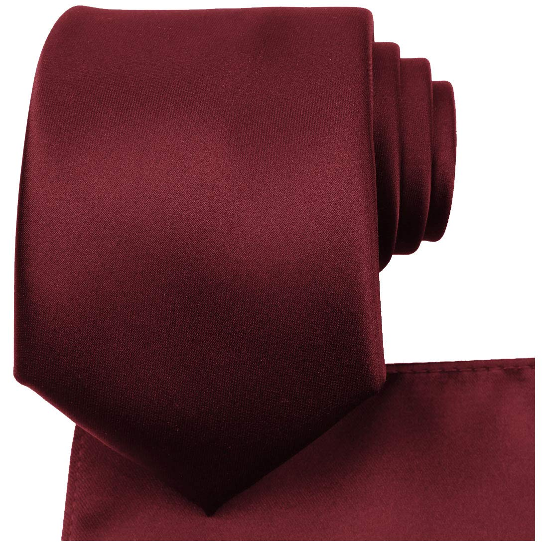 KissTies Burgundy Tie Set Satin Wedding Ties Necktie + Pocket Square by KissTies