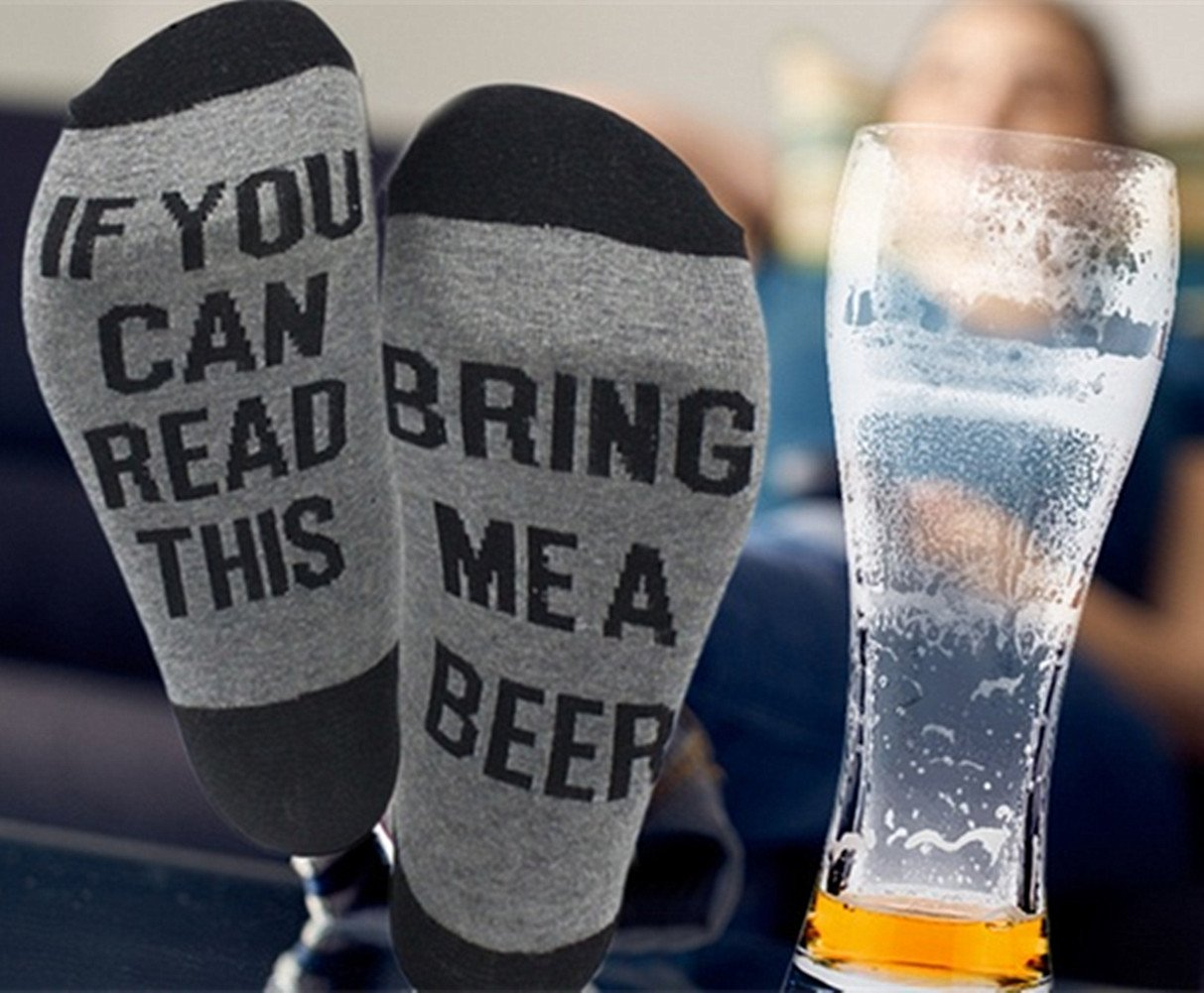 Funny Socks for Men Crew socks with Fun Saying On Bottom Bring Me a Beer Whisky by Hslieey (Image #4)