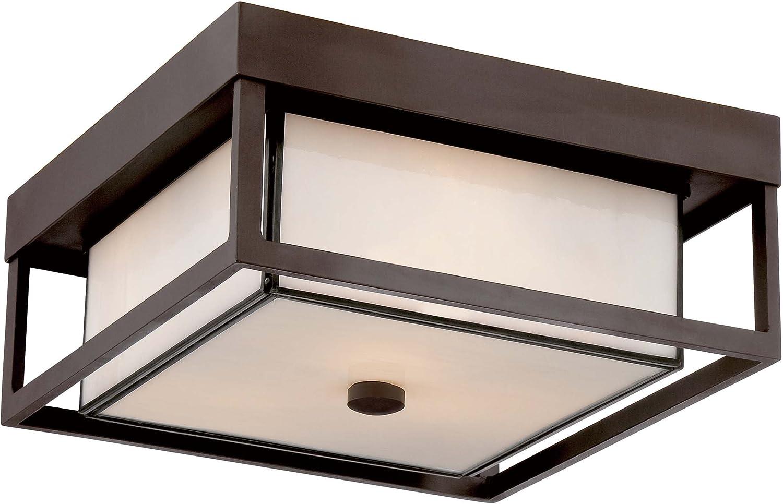 "Quoizel PWL1613WT Powell Outdoor Flush Mount Ceiling Lighting, 3-Light, 225 Watts, Western Bronze (6"" H x 13"" W)"