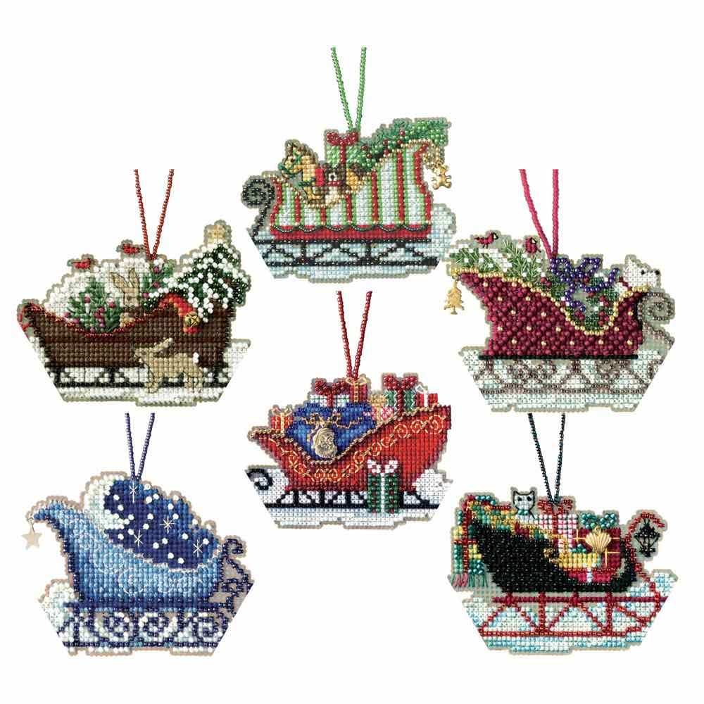 Sleigh Ride Cross Stitch Ornament Kits Mill Hill 2017 (Set of 6: Celestial, Evergreen, Toyland, Traditional, Vintage, Woodland) by Mill Hill