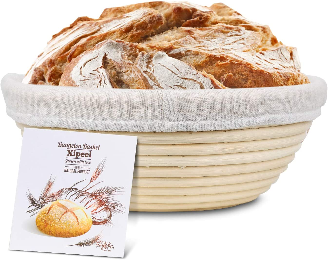Xipeel 9 inch Round Bread Banneton Proofing Basket & Liner Brotform Dough Rising Handmade Nature Rattan Sourdough Basket Bowl - Perfect For Artisan