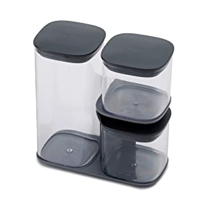 Joseph Joseph 81072 Podium Dry Food Storage Container Set with Stand, 3-piece, Gray