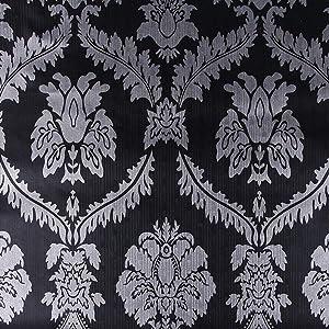 17.7x117 Inches Self Adhesive Vinyl Decorative Black and Silver Damask Shelf Liner Dresser Drawer Cabinets Liner Furniture Paper Sticker Peel and Stick Vintage Damask Wallpaper for Walls Removable