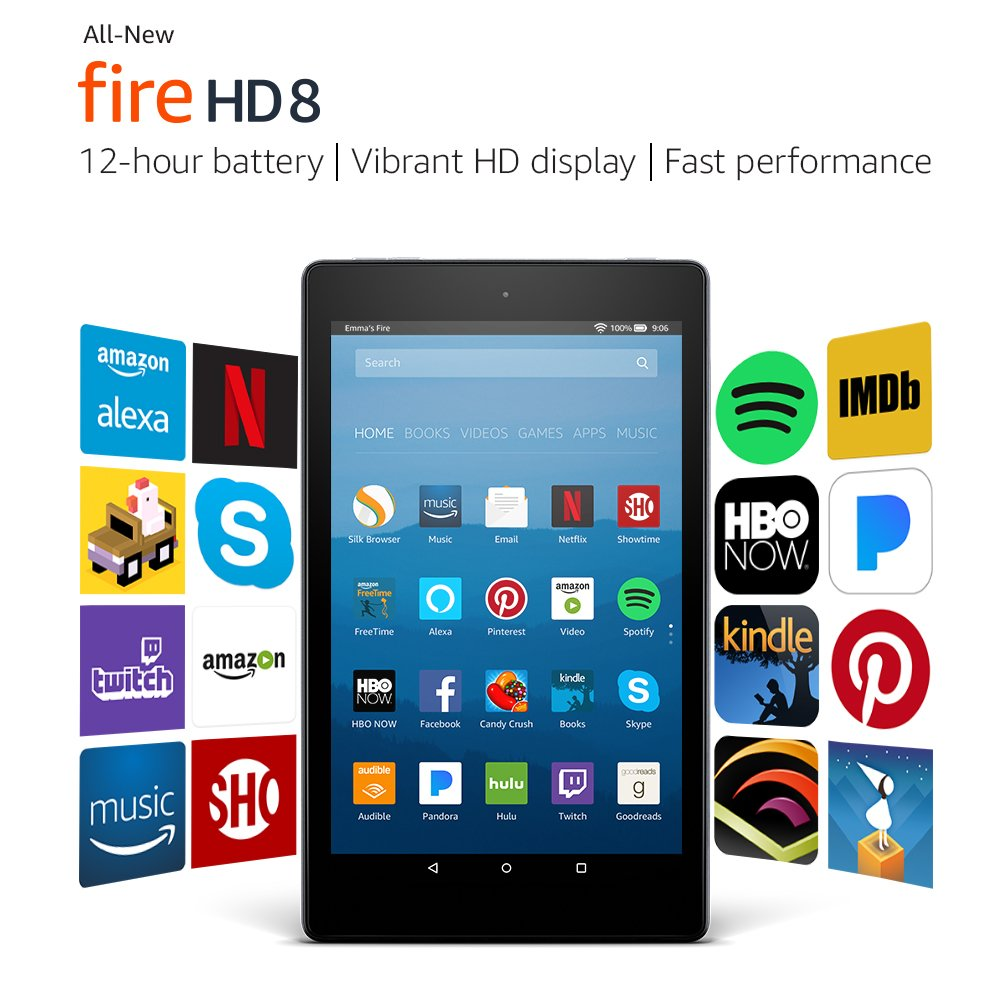 Certified Refurbished Fire HD 8 Tablet with Alexa, 8'' HD Display, 32 GB, Black - with Special Offers by Amazon (Image #3)