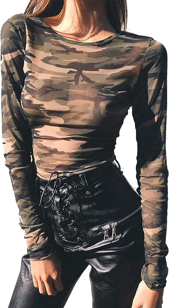 Camisas Transparentes De Camuflaje Camisa De Manga Larga Delgada Y Casual para Mujer Ejército Verde S: Amazon.es: Ropa y accesorios