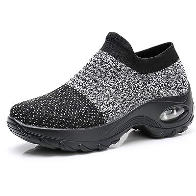 PUELLA Womens Slip On Walking Shoes - Fashion Sock Sneakers Breathe Mesh Comfort Wedge Platform Loafers | Walking