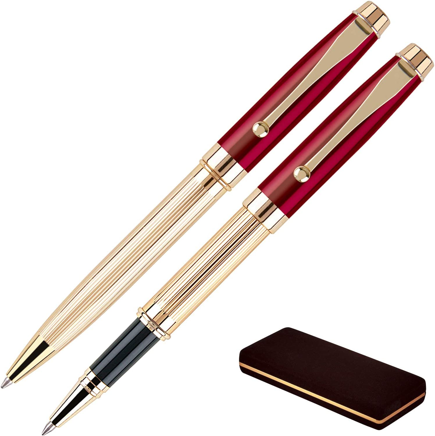 A Great Gift!! Black Trim Custom Personalized Red Translucent Stick Pens w