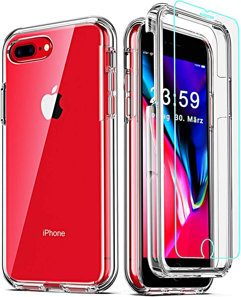 COOLQO Compatible for iPhone 8 Plus/iPhone 7 Plus/iPhone 6S/6 Plus Case, with [2 x Tempered Glass Screen Protector] Clear 360 Full Body Coverage Hard PC+Soft Silicone TPU 3in1 Phone Protective Cover
