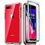 COOLQO Compatible for iPhone 8 Plus/iPhone 7 Plus/iPhone 6S/6 Plus Case, with [2 x Tempered Glass Screen Protector] Clear 360