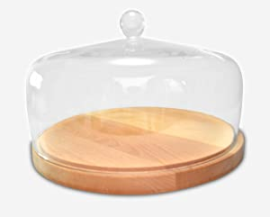 """Wood Cake Tray - with Glass Dome - Cover - Round - Server for Cheese - Pastries - Doughnuts - 11.625"""" Diameter - 6.75"""" Height (Inside Sizes are 11"""" Diameter, 4"""" Height) - by Barski- Made in Europe"""
