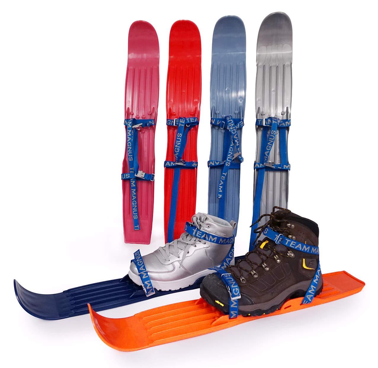 Team Magnus Kids Skis 65cm Plastic Mini Snow Skis W Quality Buckled