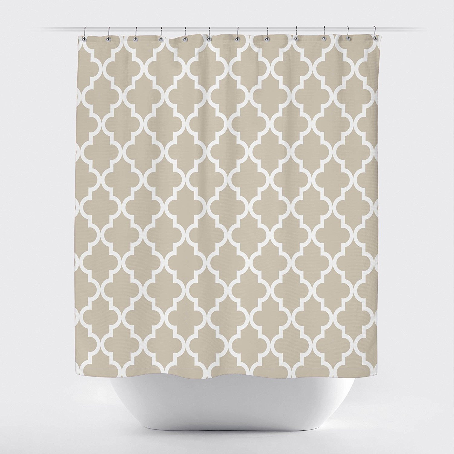 Studios Scalloped Shower Curtain, Small White on Tan by Crystal Emotion