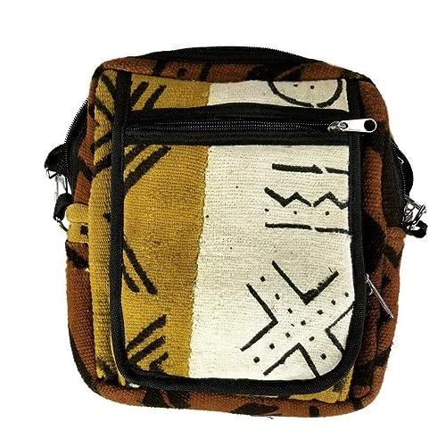 Denim Mustard Yellow African Fabric Shoulder Handbag Mali Mud cloth Purse Tribal Design Large #17 Mudcloth Cross Body Bag Adjustable Strap