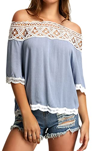 Las Mujeres Verano Elegante Encaje Gasa Patchwork Loose Off Shoulder Tunic Shirt Beach Top Plus Size