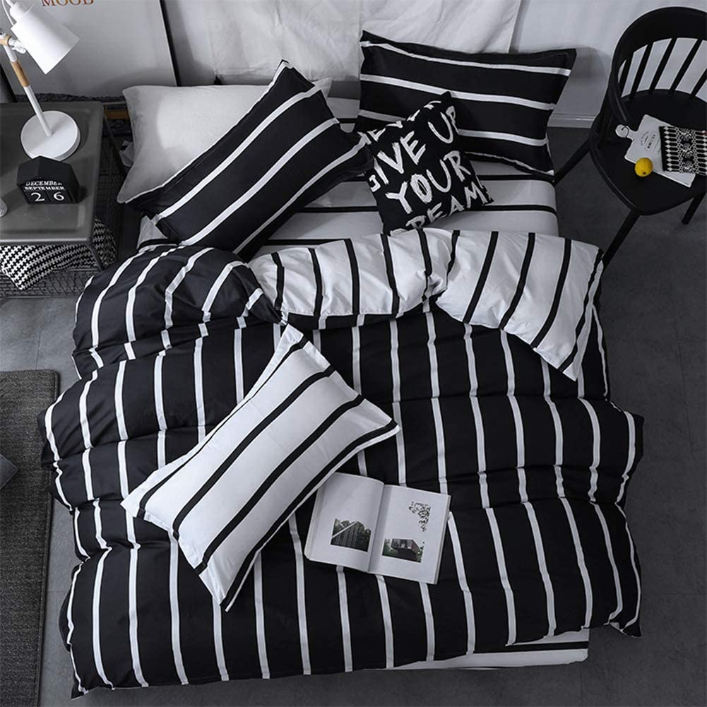 LAMEJOR Duvet Cover Set Twin Size Simplicity Striped Pattern Black/White Reversible Bedding Set Comforter Cover (1 Duvet Cover+2 Pillowcases)