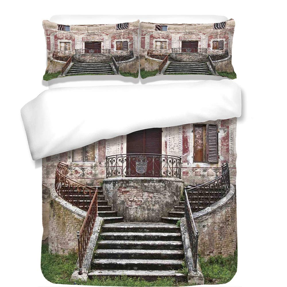 iPrint 3Pcs Duvet Cover Set,Tuscan,Rustic Window Old Wooden Shutter Flower Pot on Medieval Stone Wall,Burgundy Ivory and Grey,Best Bedding Gifts for Family/Friends