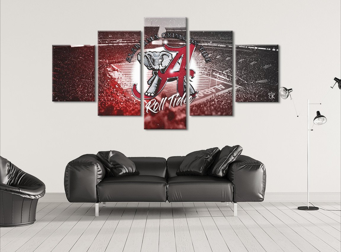 Alabama Crimson Tide College Football Canvas - Stretched and Framed Artwork - Hand Made In The US by Canvas Kings (Image #1)