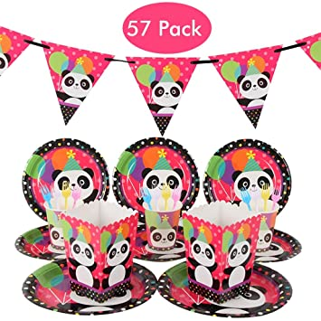 Amycute 57 Piezas 10 niños Vajilla de Fiesta de Cumpleaños ...
