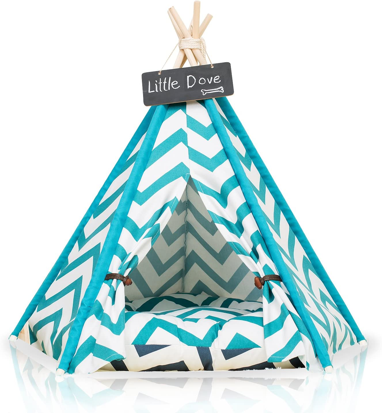 little dove Pet Teepee Dog Puppy Cat Bed – Portable Pet Tents Houses for Dog Puppy Cat Blue Strip Style with or Without Optional Cushion