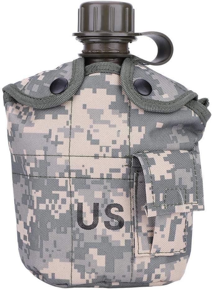 Botella de Agua Militar Cantimploras , Botella de Agua Camuflaje Portátil Cantina Militar Verde de Ejército con Fiambrera de Aluminio para Acampar Senderismo Viaje Camping Cantina