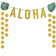 Gold Glittery ALOHA Green Leaves Garland and Gold Glittery Circle Dots Garland(25pcs Circle Dots),for Hawaiian Tropical Luau Beach Summer Party Decoration Supplies