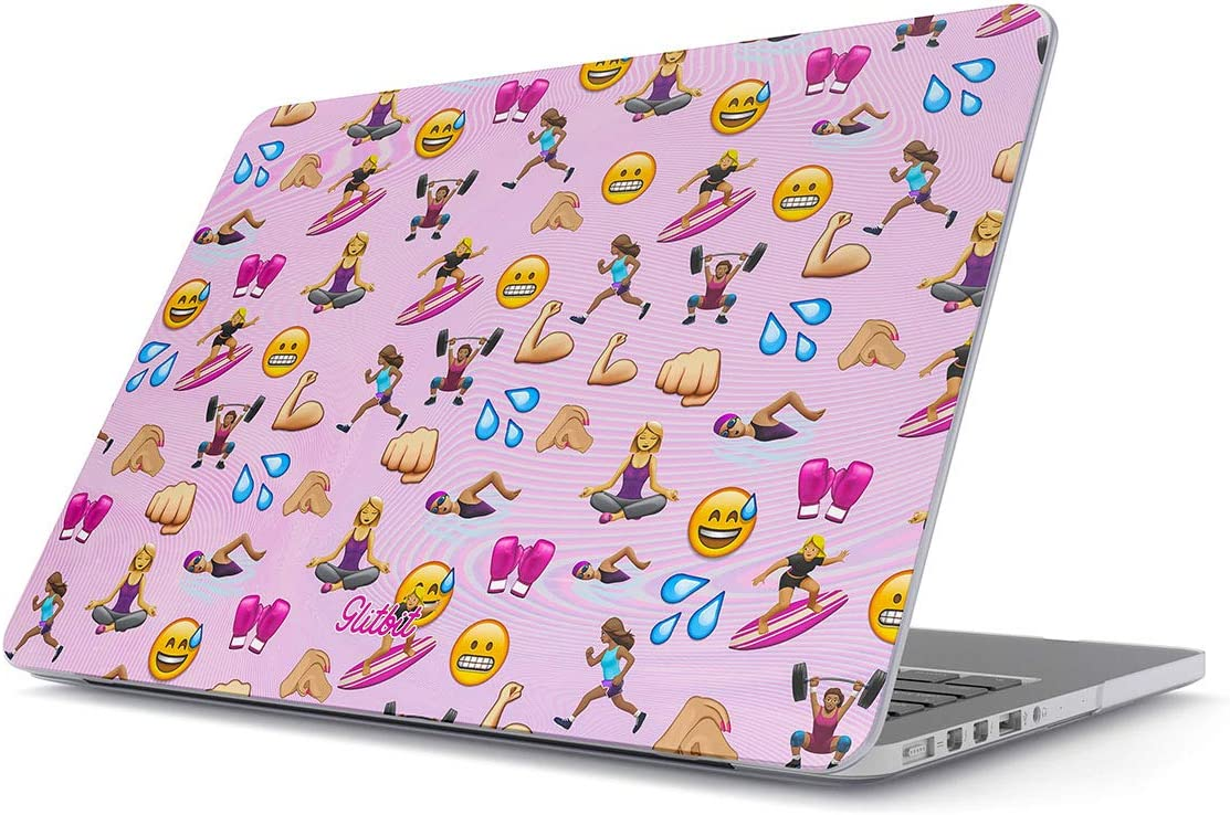 Glitbit Hard Case Cover Compatible with MacBook Air 13 inch Case Release 2018-2019 Model: A1932 / A2179 with Retina Display and Touch ID Fitness Workout Motivation Lift Emoji Sport Healthy Lifestyle