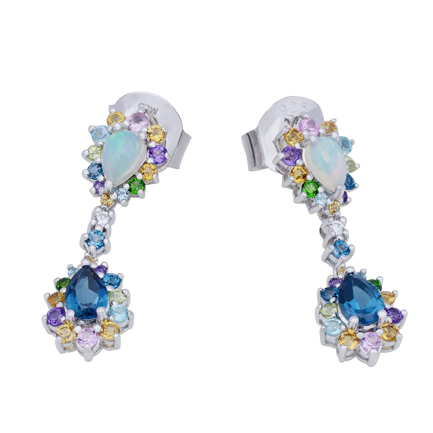 85d76d037 Amazon.com: Victoria Wieck 925 Sterling Silver Multi Gem Earring in White  Rhodium Plate.: Jewelry