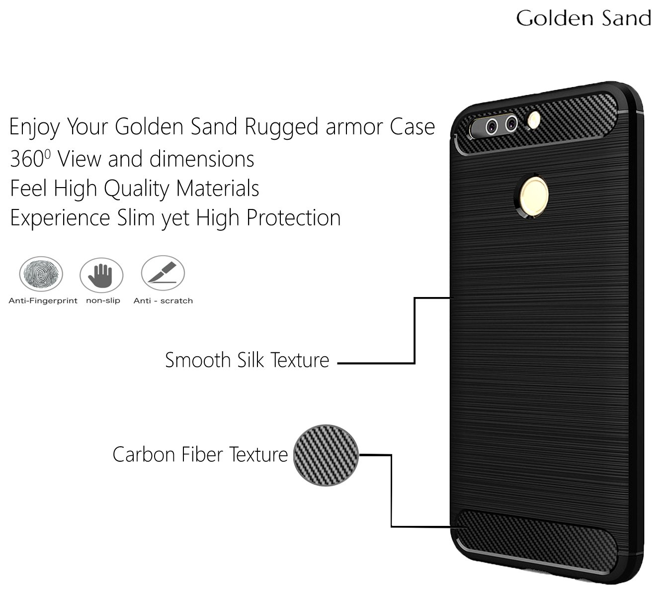 Golden Sand Armor Shockproof Case For Huawei Honor 8 Iphone 9 Spigen Anti Shock With Stand Tough Original Casing Electronics