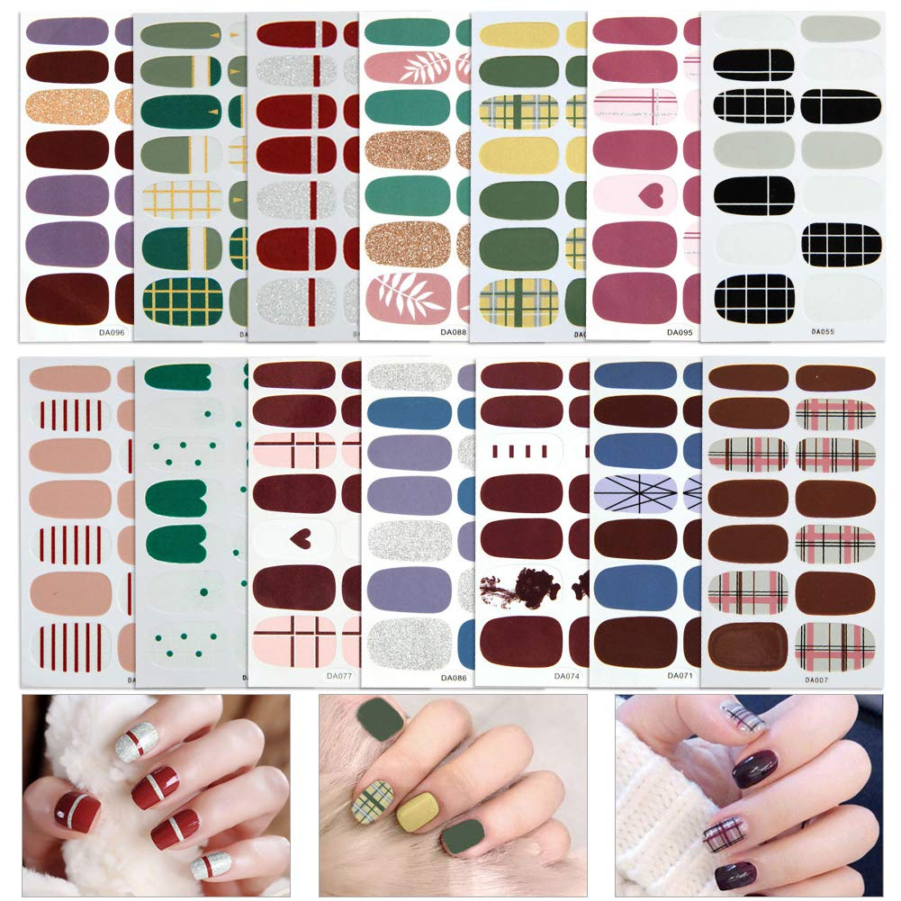 14 Sheets Full Wraps Nail Polish Stickers,Self-Adhesive Nail Art Decals Strips Manicure Kits Nail Art Designs for Women Girls by Augoog