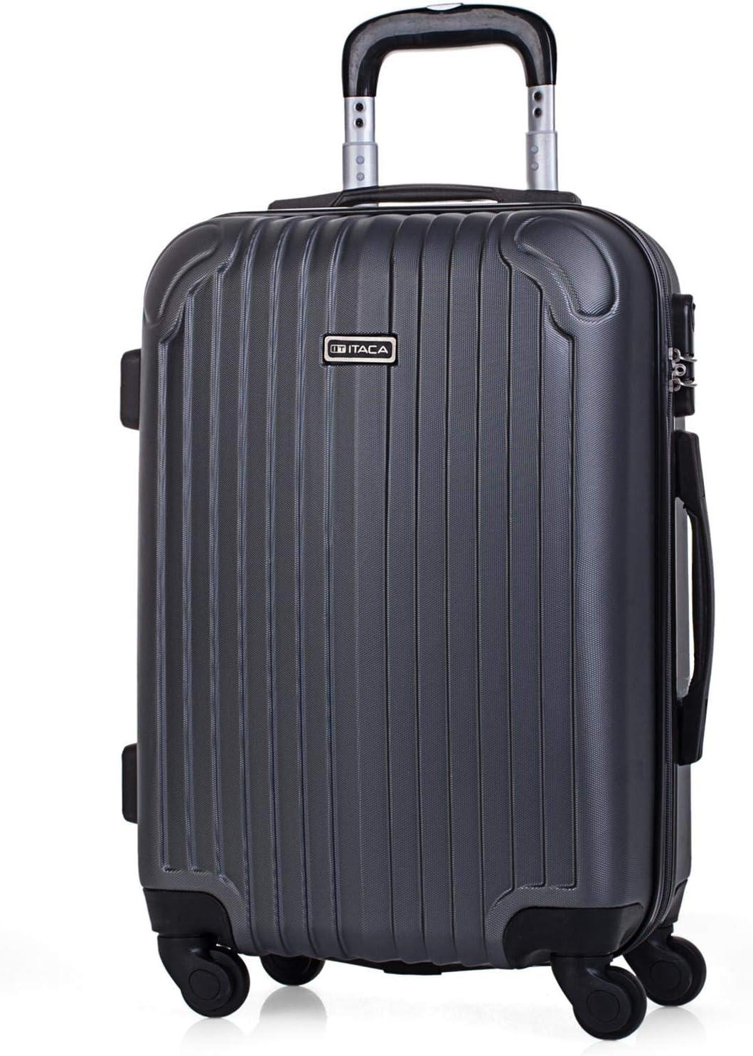 ITACA - Maleta de Viaje Cabina Rígida 4 Ruedas 55 cm Trolley ABS. Equipaje de Mano. Pequeña Resistente Cómoda y Ligera. Low Cost Ryanair. Estudiante. Calidad y Diseño. T71550, Color Antracita