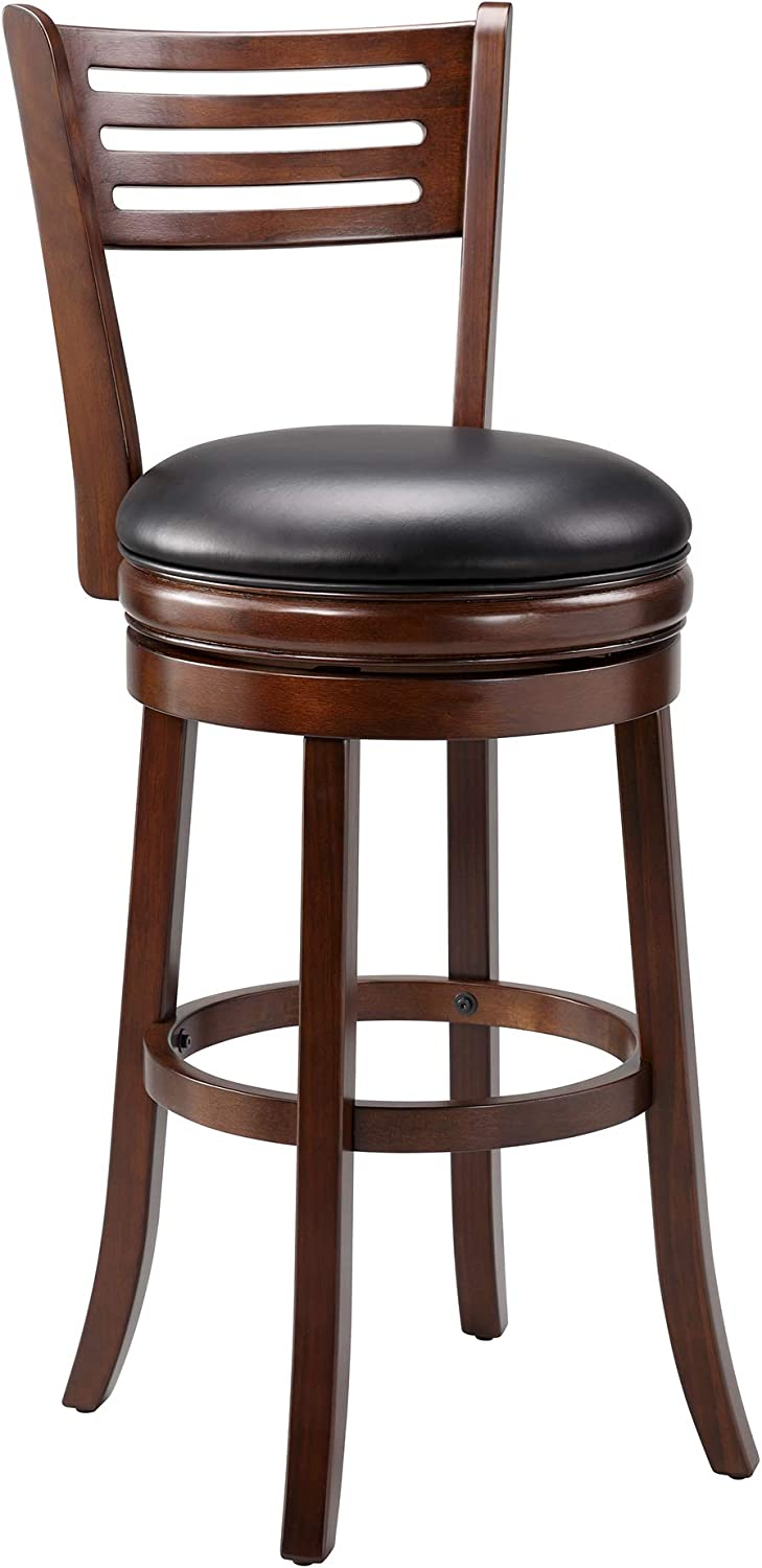 Ball & Cast Pub Height Swivel Barstool , 29-Inch,1-Pack, Cappuccino-open ladder back