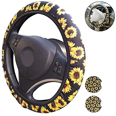 Sunflower Steering Wheel Cover and Small Car Coasters: Clothing [5Bkhe0816507]