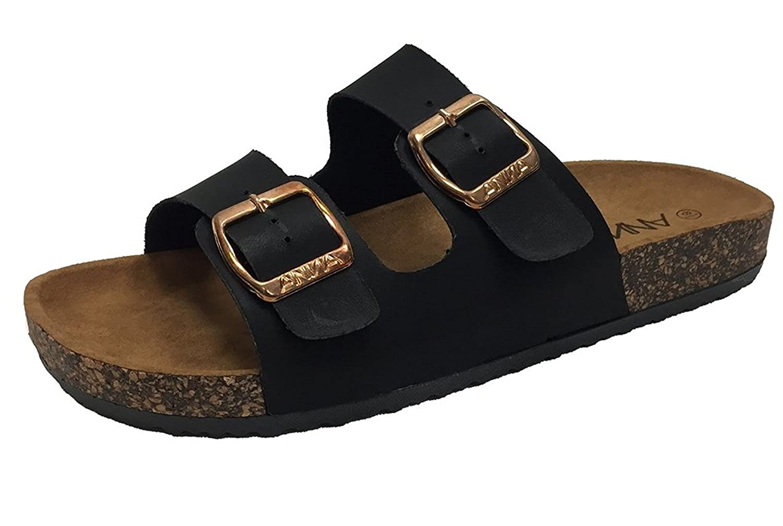 11d9292df87f Anna womens light weight cork platform double buckles slide sandal slides  jpg 1500x1008 Two straps slides