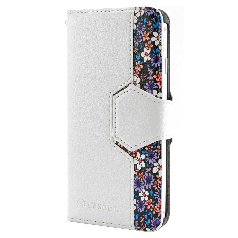 4f966e07eea caseen Detachable iPhone 6 Plus / 6S Plus Wallet Case (White/Purple Floral)  w/Slim Magnet Snap Case, Credit Card Slot Holders, Multi-Angle Stand - WISP  ...