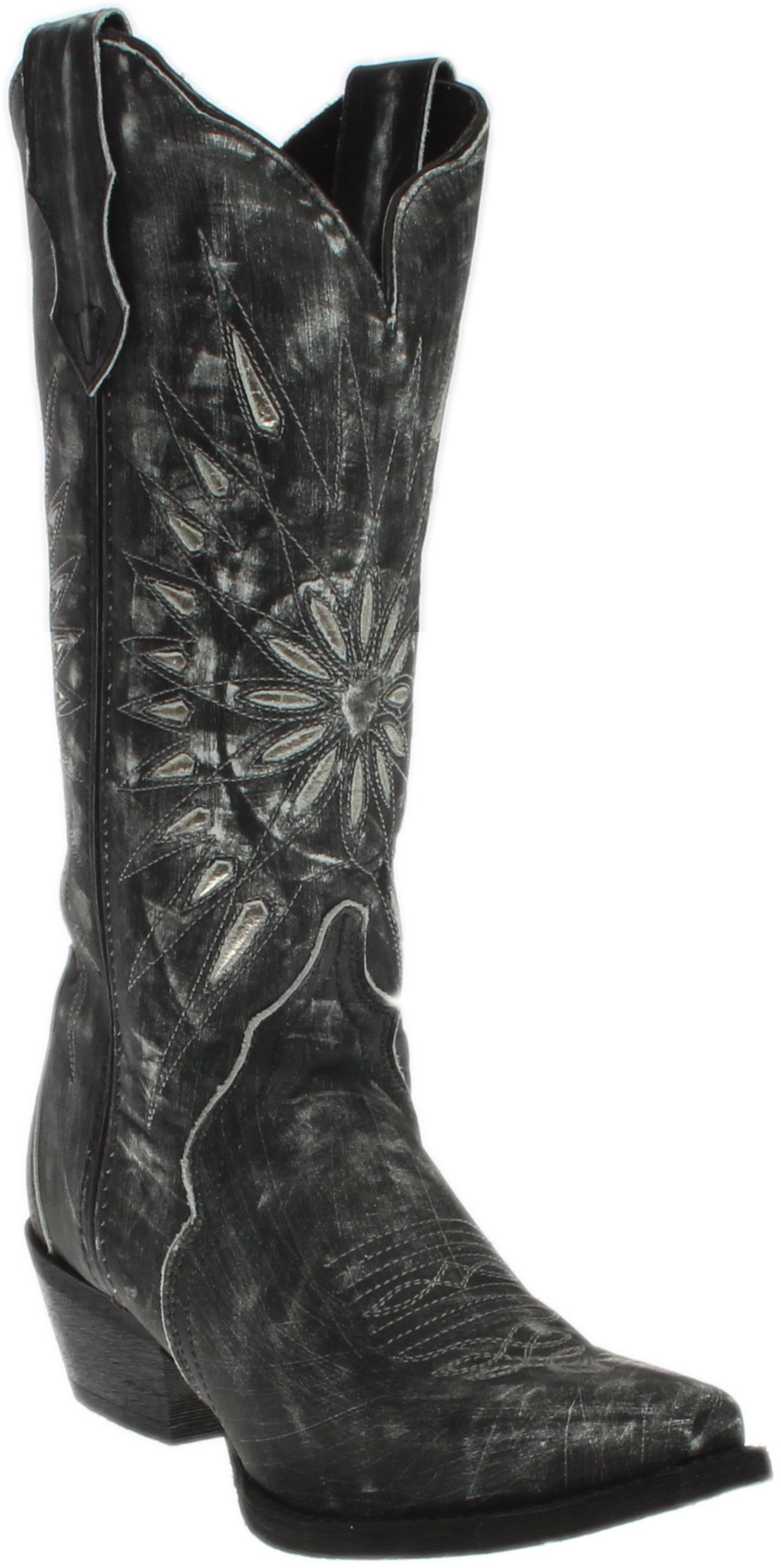 Laredo Womens Black Starburst Leather Cowboy Boots 12in Cutout 7.5 M