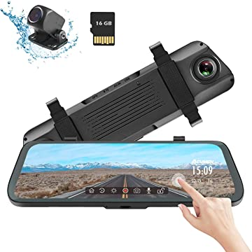 Mirror Dash Cam Digital Rear View Mirror 9.66'' Touch Screen, Dual Lens 1080P Full HD Cameras ADAS Motion Detection Parking Mode G-Sensor Loop-Recording Night Vision with 16GB SD Card (R1080P)