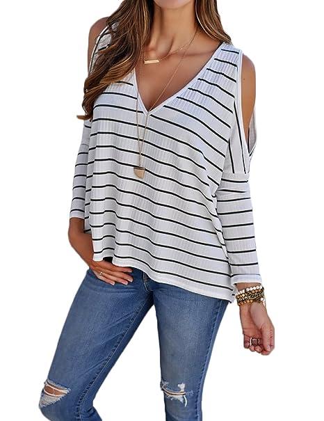 Boutiquefeel Camiseta A Rayas con Abertura en Hombros Blusa Casual para Mujer