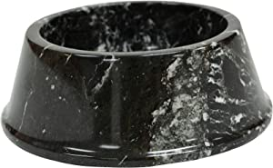Polished Marble Food / Water Pet Bowl for Cats and Dogs, Black Zebra