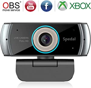 1080P Webcam with Microphone for Desktop, 100 Degree Wide Angle HD Webcam for Streaming OBS Xbox XSplit Skype Facebook, Compatible for PC Mac OS Windows 10/8/7