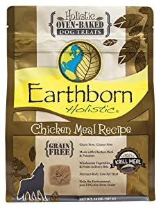 Earthborn Holistic Chicken Meal Recipe Holistic Oven-baked Dog Treats,14 OZ